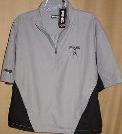 PING Tour Logo 1/4 Zip Long/Short Zip Off Sleeve Windshirt Lg(Pewter