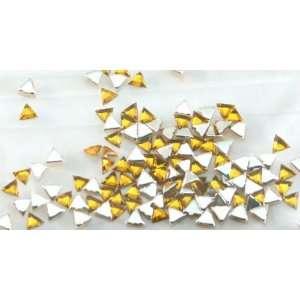 Zink Color Nail Art Acrylic Rhinestone Yellow Triangle 100