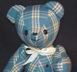 HANDMADE PLAID TEDDY BEAR WITH LADYBUG EMBLEM ON CHEST