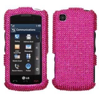 HOT PINK FULL BLING CELL PHONE CASE for LG ENCORE GT550
