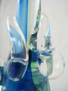 Vintage Art Glass Blue Core Elephant Figurine Statue With Raised Trunk