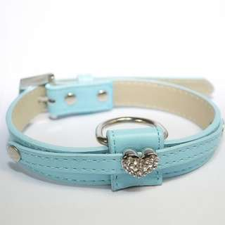Colors PETS Dogs Heart Crystal PU Leather COLLAR 2 SZ