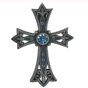 Western Cowgirl Blue Rhinestone Cross Magnetic Pendant