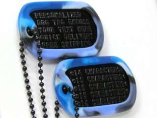 Military Dog Tag ID Custom Personalized Biker Black Tag Blue Camo