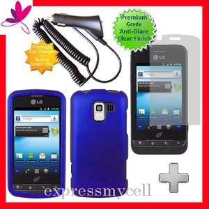 Screen + BLUE Hard Case Cover for Straight Talk NET 10 LG OPTIMUS Q