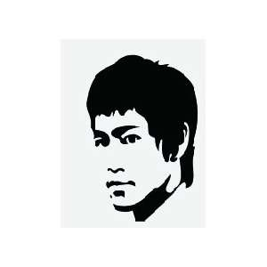 Large Bruce Lee Head Shot Black and White Wall Sticker