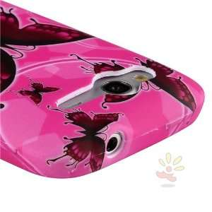 For HTC Wildfire S TPU Case , Hot Pink/Red Butterflies