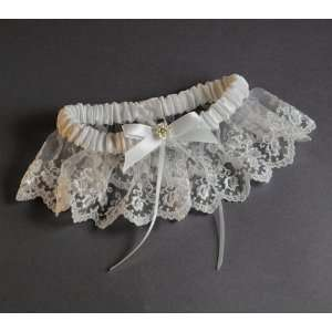 Wedding Garter Lace White Satin with Pearl Accents Bridal