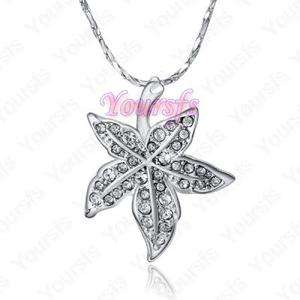 Unique White Gold Plated Use Swarovski Crystal Noble Maple Leaf