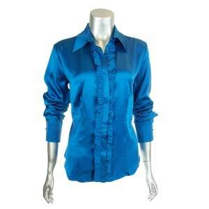 Sutton Studio Womens Charm Ruffle Front Blouse Top