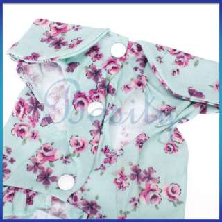 Pet Dog Puppy Floral Rose Bud Print Dress Coat Simple Design Clothes