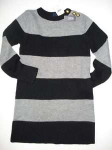NWT GAP BRICK LANE Rugby Striped Sweater Dress XS 4 5 NEW BLACK/GRAY