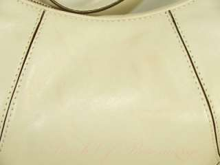 Michael Kors Brookville Leather Large Shoulder Hobo Purse Bag Vanilla