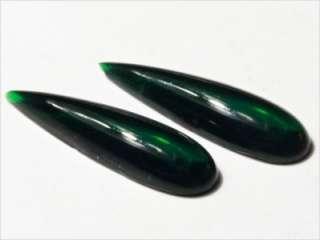 CZECH EMERALD GREEN TEARDROP GLASS CABOCHONS 31 mm TRANSPARENT