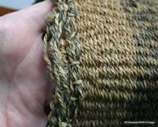 VTG tan olive green brown woven staw tote boho purse handbag leather