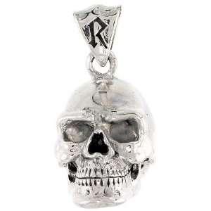 925 Sterling Silver 3 Dimensional Skull Pendant (w/ 18 Silver Chain