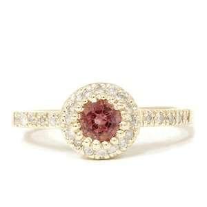 REAL .81CT PINK TOURMALINE DIAMOND PAVE HALO RING 14K GOLD