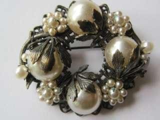 Vintage 40s / 50s Faux Baroque Pearl Pin Brooch Earrings Miriam