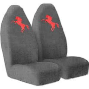High Back Seat Covers with Red Mustang Horse Pony Logo Automotive