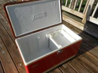 XL Vintage RED COLEMAN COOLER Ice Chest w/Inserts Great Latch
