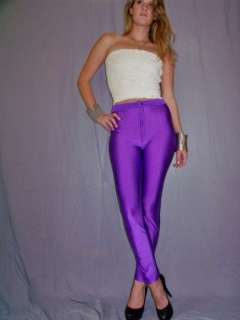 SPANDEX disco shiny PANTS high waist skinny PURPLE