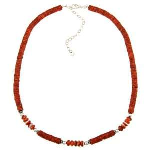 Moon Sterling Silver Coral and Spiny Oyster Necklace Jewelry