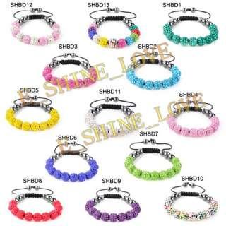 10mm CZ Disco Balls(9Pcs) Crystal Macrame Bracelets+30 Mix Colours