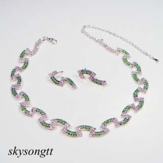 Swarovski Green Clear Crystal Rhinestone Bridal Necklace Earrings Set