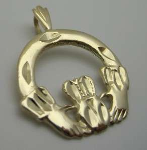 14k Yellow Gold Irish Celtic Claddagh Heart Crown Love Pendant