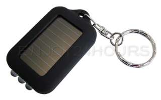 LED Mini Solar Powered Flashlight Torch Keychain Hot