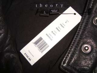 THEORY *COLEY* GREAT 100% Lamb Soft Leather Coat Jacket Sz L