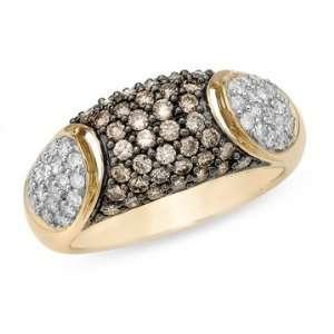 1 Carat Chocolate and White Diamond 14K Yellow Gold Ring Jewelry