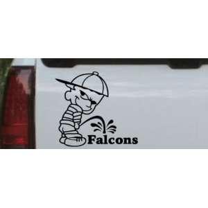 Black 12in X 11.1in    Pee On Falcons Car Window Wall Laptop Decal