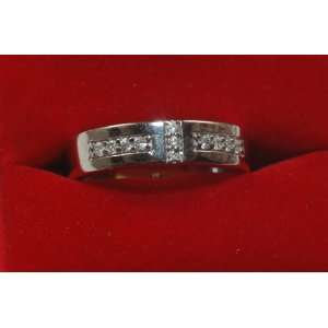 Hers 14k Solid White Gold and Diamond Wedding Band New Jewelry