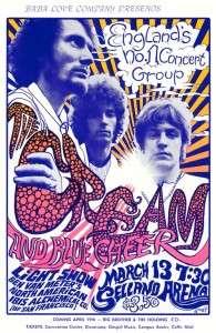 Cream POSTER 1968 w/ Blue Cheer Rare Large Eric Clapton Jack Bruce