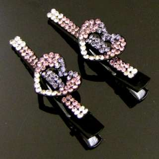 ADDL Item  2 Austrian rhinestone hearts small hair clamp