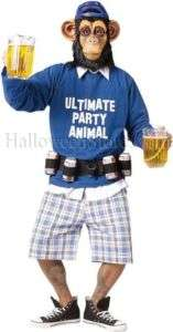 Party Animal Gorilla Alcoholic Ape Chimp Costume Plus S