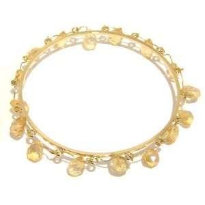 Citrine Bracelet 06 Bangle Facet Cut Tear Drop Yellow Gemstone Gold