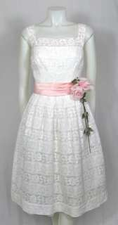 LACE PINK SATIN SASH w CORSAGE WEDDING PROM PARTY DRESS Saks