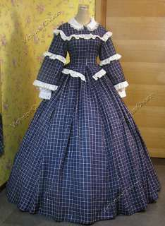 Civil War Victorian Gingham Ball Gown Day Dress 152 L