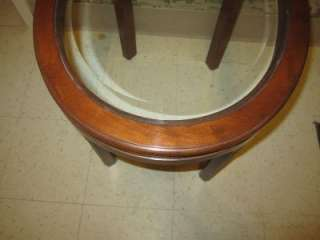 Allen Canova Solid Cherry Oval End Table Beveled Glass Top