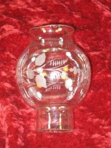 Hand Blown Clear Glass Lamp Shad copper wheel engraving