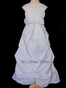 Gathered Full Length First Communion Dress Sz 6 8 10 12 14 16