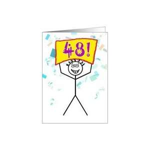 Happy 48th Birthday Stick Figure Holding Sign Card Toys & Games