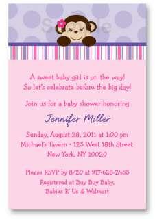 Lil Monkey Girl Monkey Baby Shower Invitation Printable