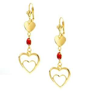 Heart Shape Red Cubic Zirconia Gold Plated Earrings 2