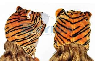 Cartoon Tiger Animals Cute Plush Fancy Dress Fluffy Costume Hat Cap
