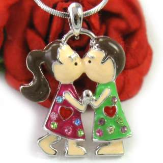 Red Heart Kissing Couple Ponytail Girl Necklace n324