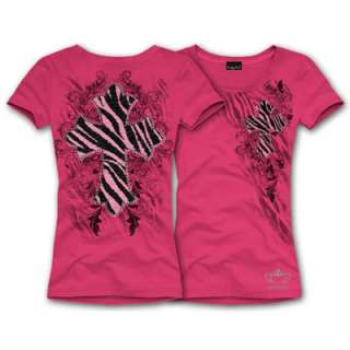 KATYDID Short Sleeve Hot Pink Cowgirl Western Zebra Cross Plus Size T