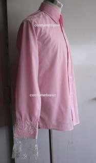 Mad Hatter Pink Shirt Lace Cuffs